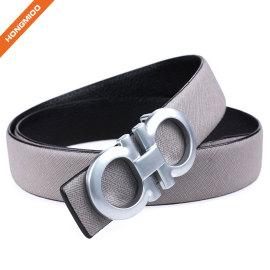 Hongmioo Double Ring Split Leather Wide Belt With Sleek Silver Plate Buckle