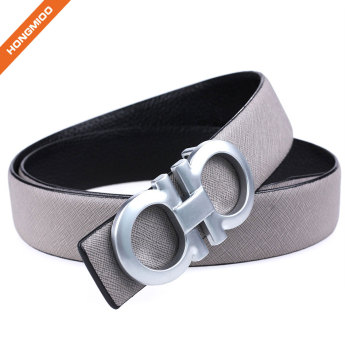 Hongmioo Double Ring Split Leather Wide Belt With Sleek Silver Plate Buckle