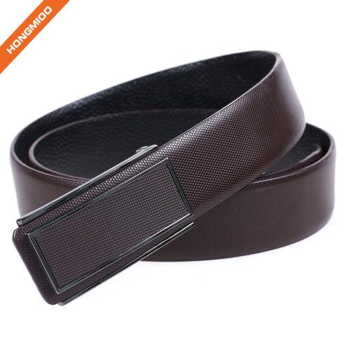 Men Plain Cowhide Leather Waistband Custom Smooth Metal Plate Buckle Belt