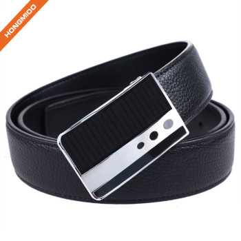 Men's Stitched Black Genuine Leather Plaque Slider Buckle Belt