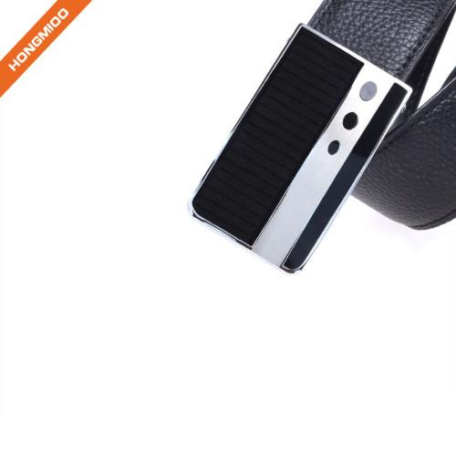 Men's Stitched Black Genuine Leather Plaque Slider Buckle Belt