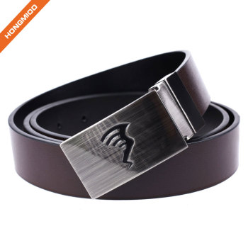 Daily Dress Wide Genuine Leather Belt with Smooth Silver Plaque Buckle