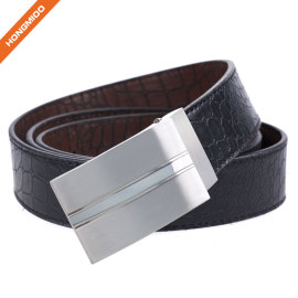 Durable Men's Genuine Leather Belt Fashion Designer Classic Plaque Pin Buckle Belt