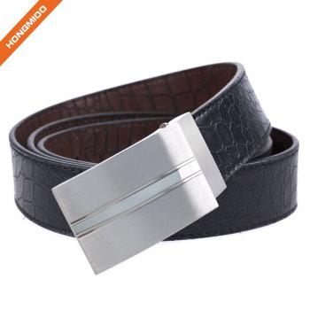 Durable Men's Genuine Leather Belt Fashion Designer Classic Plaque Pin Buckle Belt