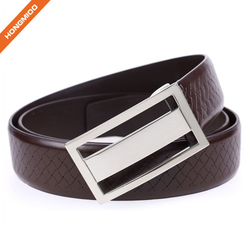 Brown Genuine Leather Belts Plaque Buckle Belt Embossed Pattern Cow Leather Strap