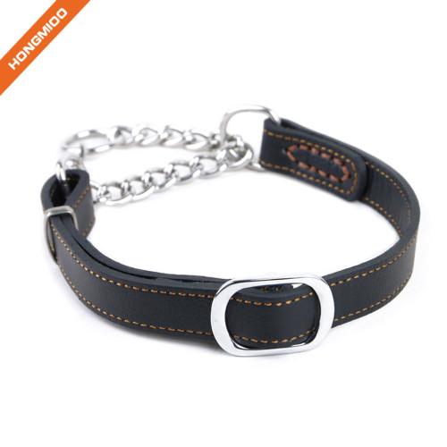 Pet Supplies Adjustable Length Black Leather Dog Collar