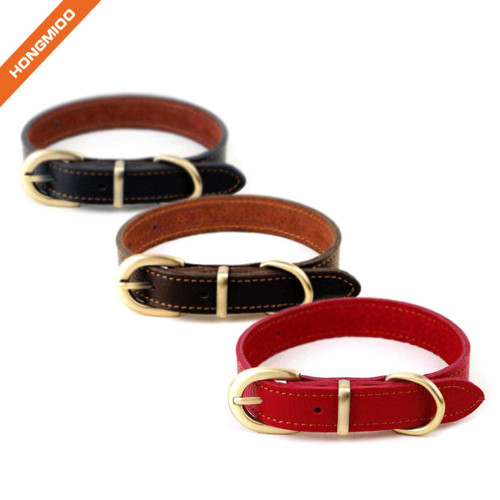 Comfort High Quality Golden Buckle Genuine Leather Dog Collar