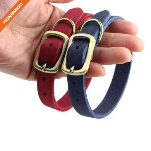 Strong Texture Golden Pin Buckle Microfiber Dog Collar