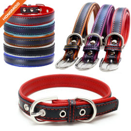 Colorful Strap Leather Fancy Sliver Pin Buckle Dog Collar