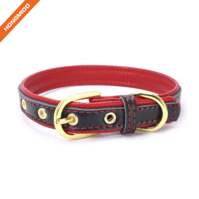 Fancy Color Western Style Golden Pin Buckle Leather Dog Collar