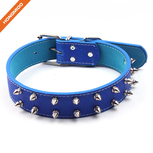Luxury Metal Studded Pin Buckle Unique Designer Leather Dog Collar
