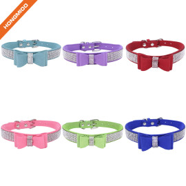 Strong Texture Custom Color Rhinestone Jeweled Microfiber Bow Tie Dog Collar