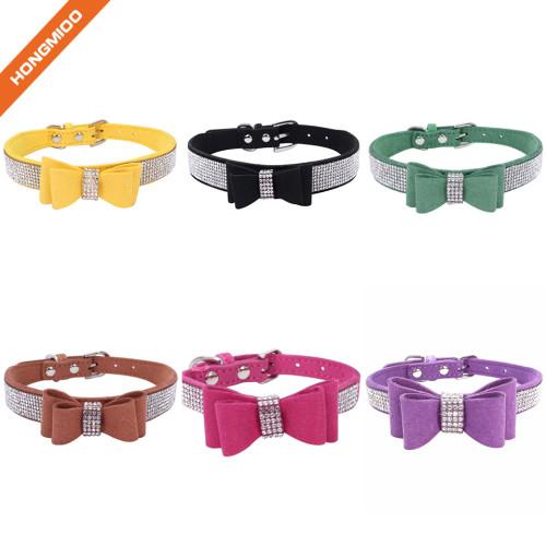 Strong Texture Custom Color Rhinestone Jeweled Microfiber Bow Tie Dog Collar