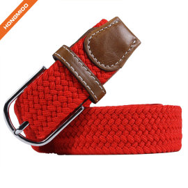 Fashion Colorful Elastic Braided Polyester Belt With Pin Buckle