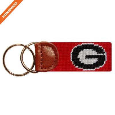 Hongmioo Handcraft Needlepoint Small Pocket Key Fob Real Leather Key Chain