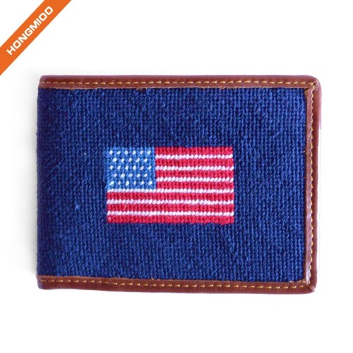 Classical American Flag Needlepoint Design Wallet Top Grain Leather Purse