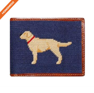 Cute Hand Made Animal Pattern Design Real Leather Needlepoint Pocket Wallet