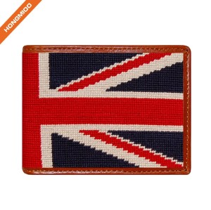 Full Grain Leather Hongmioo Navy Color Different Pattern Design Needlepoint Mens Wallet