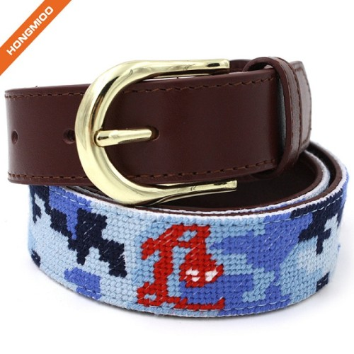 Colorful Mens Full Grain Leather Handmade Needlepoint Belts With Gold Pin Buckle