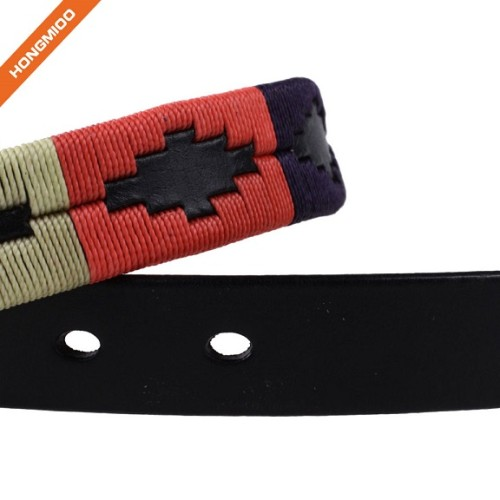 Simple Design Mens Genuine Leather Mix Color Embroidery Belts
