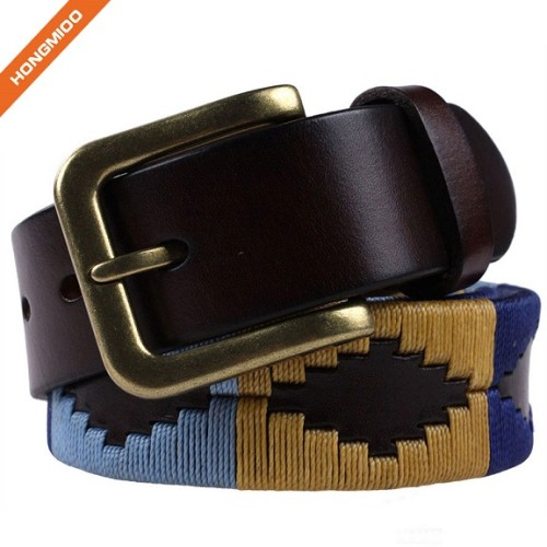 Handmade Brown Genuine Leather Embroidery Pattern Belts With Gold Pin Buckle