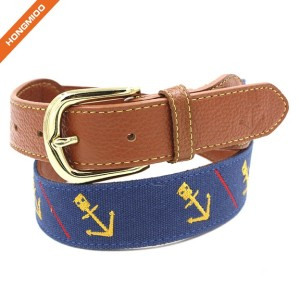 Popular Design Navy Background Embroidery Boat Anchor Top Grain Leather Belts
