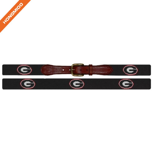 Real Handmade Wide Needlepoint Top Grain Leather Letter G Belts