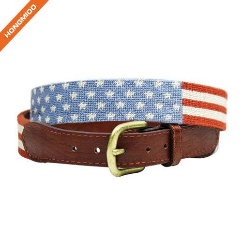 Loving Design Mens Custom Needlepoint American Flag Genuine Leather Belts