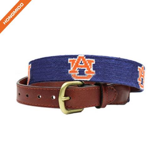 Golf Sports Design Mens Top Grain Leather Belts Handmade Needlepoint Belts
