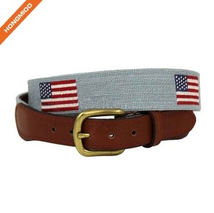 Golf Sports Design Mens Top Grain Leather Belts Handmade Needlepoint Belts