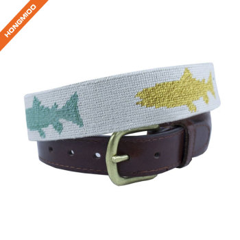 Colorful Vivid Fish Design Embroidery Custom Mens Genuine Leather Belts