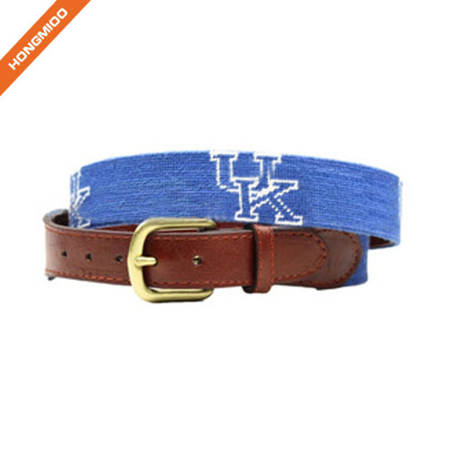Hand-Stitched Letter Design Needlepoint Genuine Leather Belts By Hongmioo
