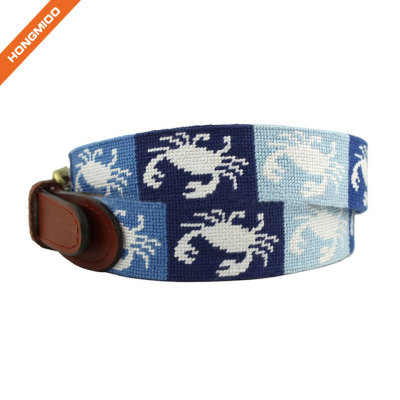 Cute Crab Needlepoint Design Top Grain Leather Belts By Hongmioo