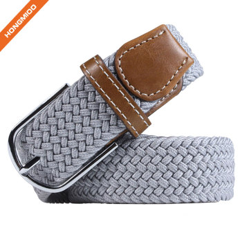 Custom Label Light Gray Polyester Material Belts With Split Leather