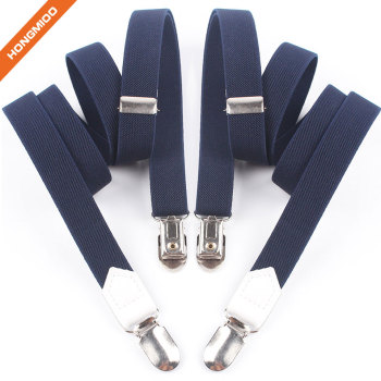 2cm Wide Solid No Cross Suspenders Polyester Material With 2 Clips For Men