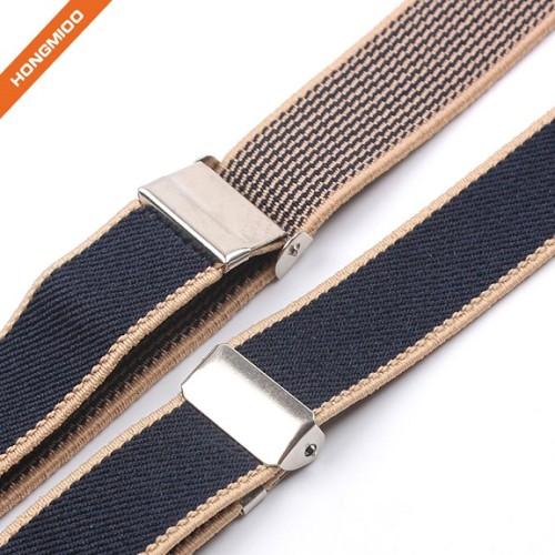 2cm Wide Solid Blue Y-Back Elastic Polyester Suspender Mix Color Shirttail Garter