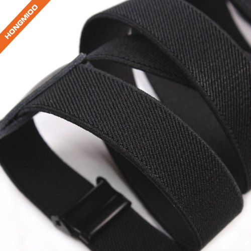 Pure Black X-Back 4 Strong Snap Hooks Suspender High Quality Soft Polyester Material Shirt Stays