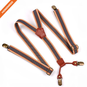 Mens Elastic Fully Adjustable Suspender With Extra Sturdy Brass Metal Clips Shirt Holder