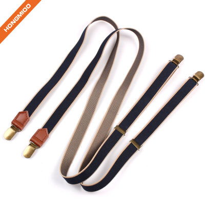 Full Size Mens Long No Cross Elastic Suspenders Holder Double Color Shirt Stays