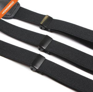 Plain Black Solid Fabric Suspender Belts Mens Durable 1.3 Inch Wide Shirt Holder Garter