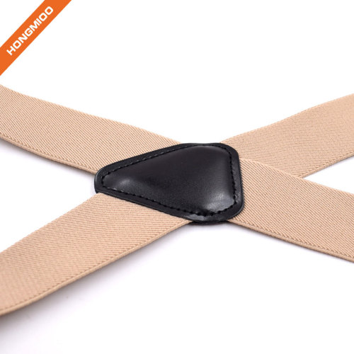 Beige Color Shirt Garter Belt Polished Silver Elastic Polyester Suspender