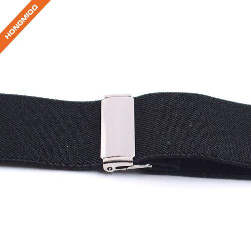 Black X Style PU Leather Button Design Suspender Useful Shirt Garter Belts