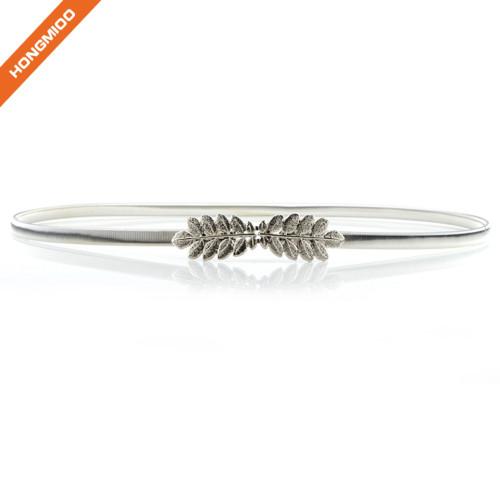 Women Plate Metal Silver Narrow Skinny Belt