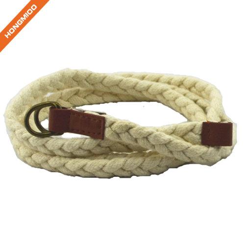 Hongmioo Skinny Double Buckle White Children Rope Belt