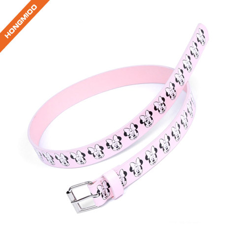 Cute Pattern Kids Pink Color Leather Belt For Girls