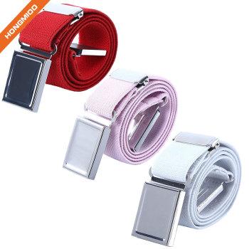 Square Plaque Buckle Adjustable Elastic Children's Boys Nylon Belts