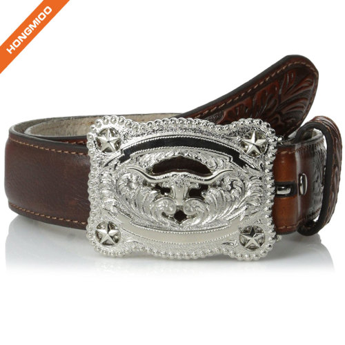 Brown Textured Leather Boys Belts With Animal Buckle