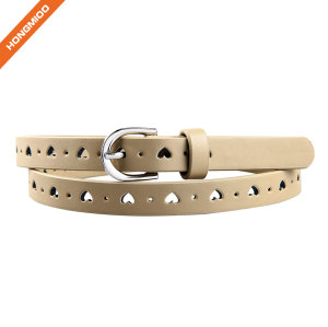 Hongmioo Khaki Color Heart Shape Girl Leather Belts