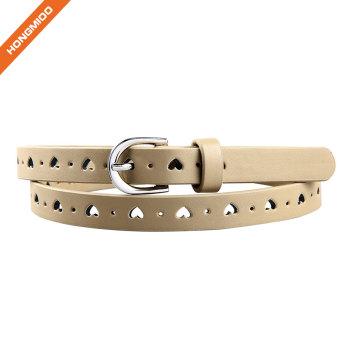 Hongmioo Khaki Color Heart Shape Girl Leather Belts