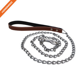 High Quality Metal Chain Dog Leash with Leather Handle
